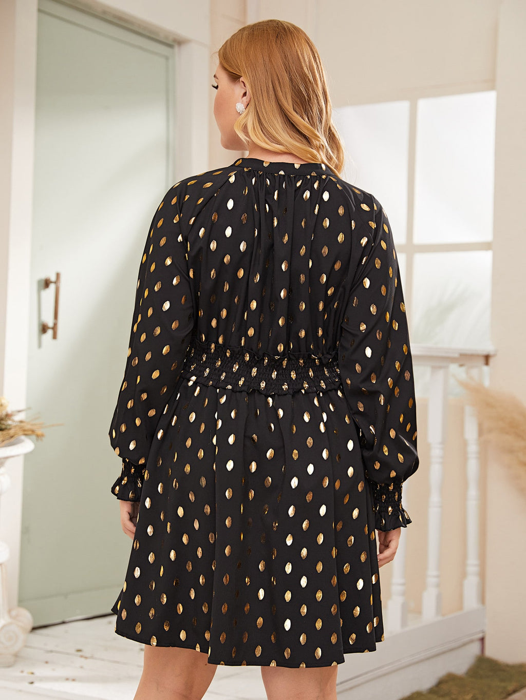 Plus Size Gold Polka Dot Flounce Sleeve Dress