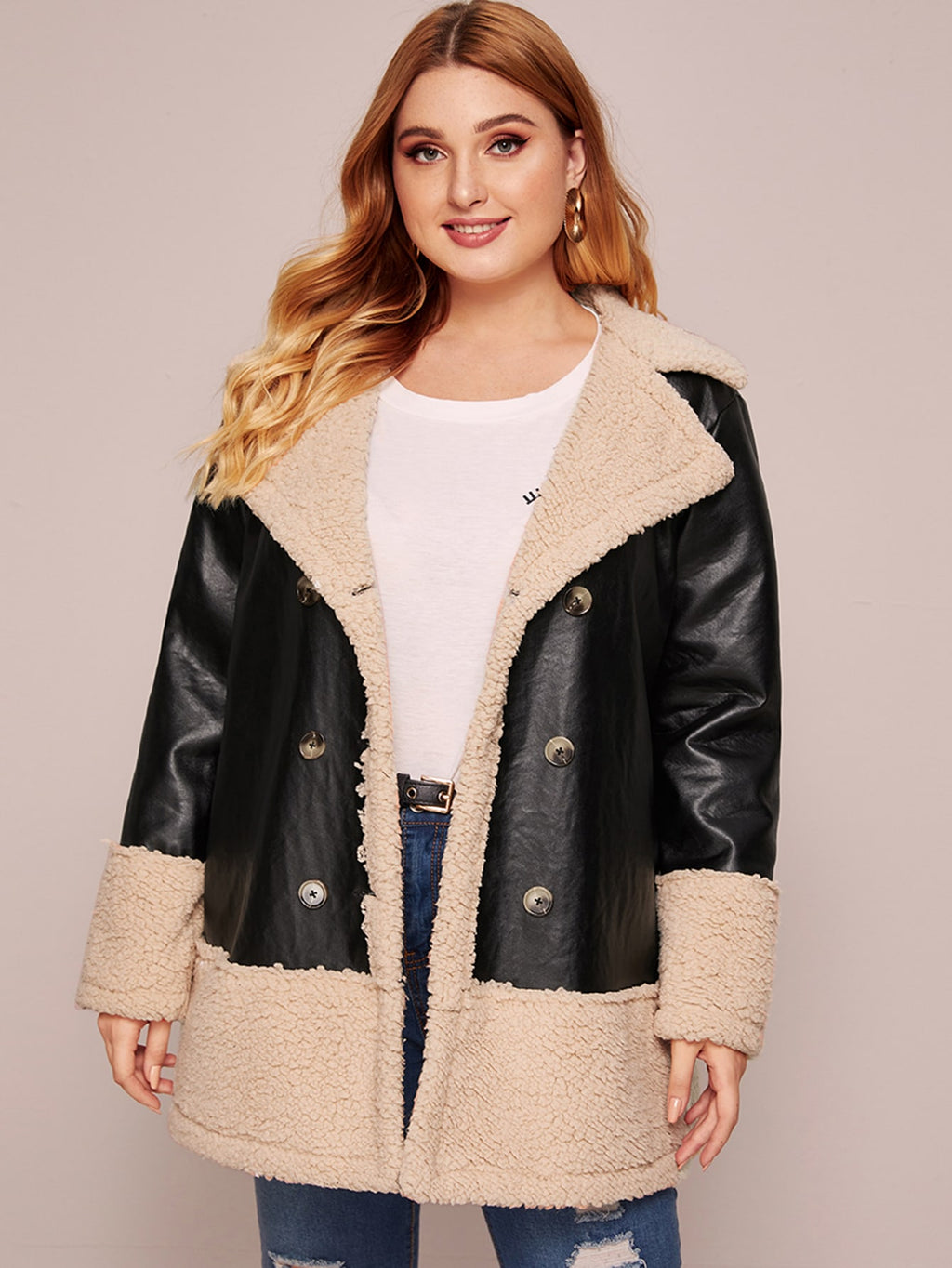 Plus Size Double Breasted Two Tone Faux Coat