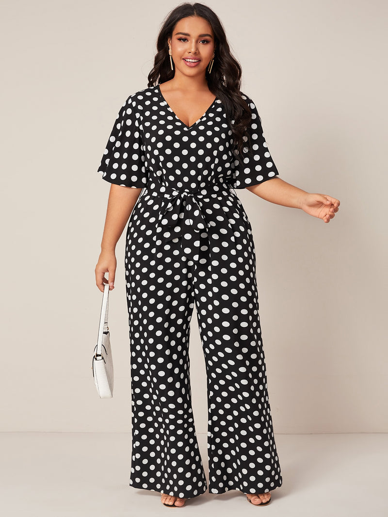 Plus Size Adorable Polka Dot Belted Jumpsuit