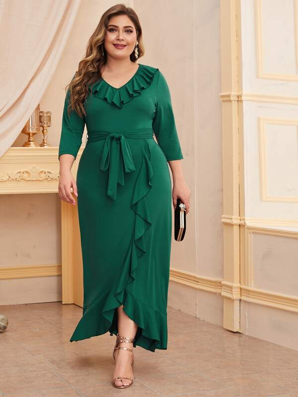 Plus Size Ruffle Trim Self Belted Asymmetric Dress