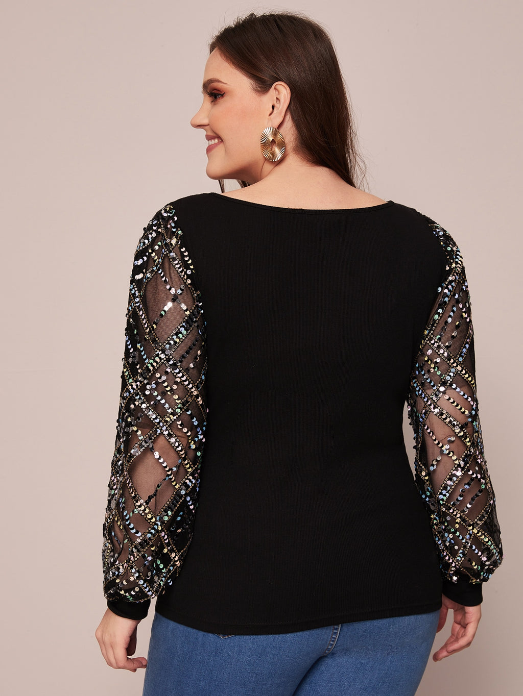 Plus Size Sequin See Through Mesh Sleeve Top