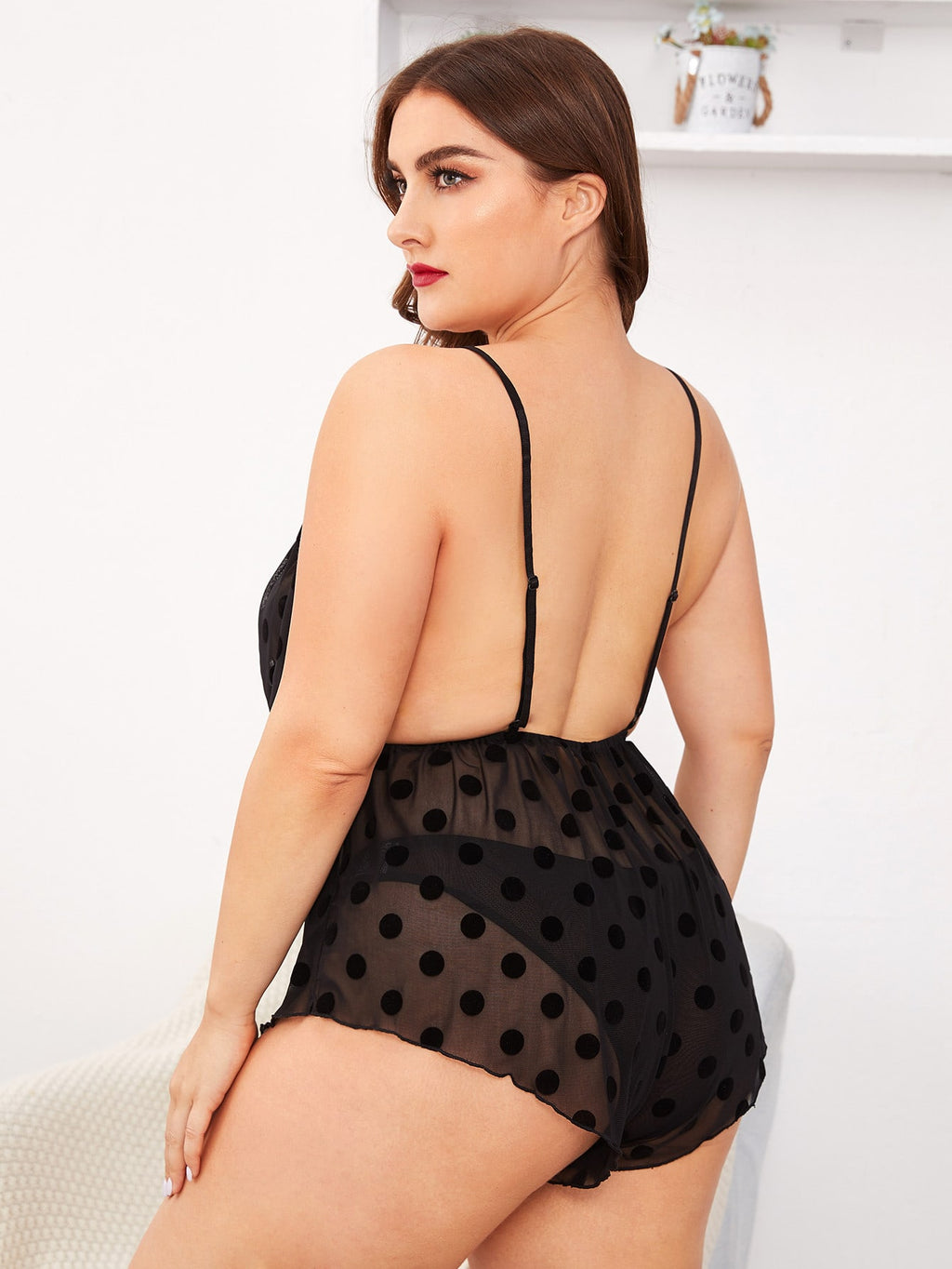 Plus Size Polka Dot Sheer Mesh Teddy Bodysuit