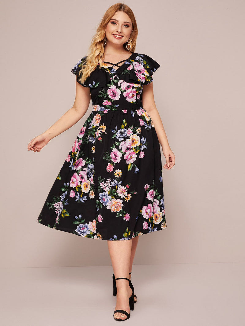 Plus Size Floral Print Criss-Cross A-line Dress