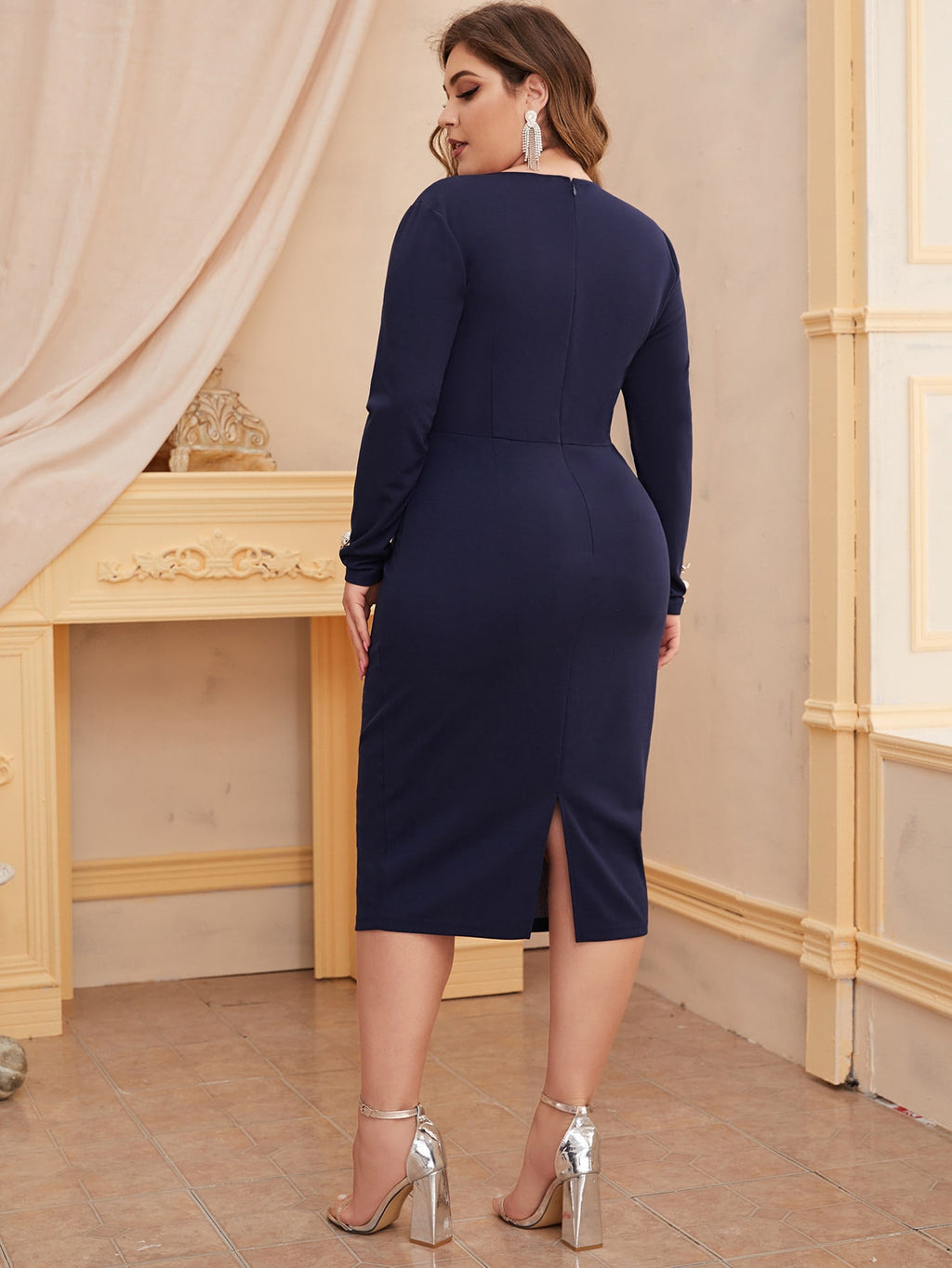 Plus Size Double Breasted Split Pencil Dress