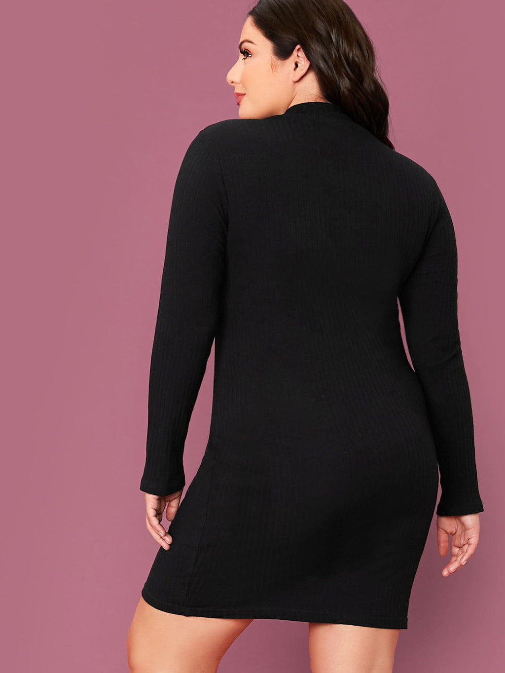 Plus Size Trendy Paris Mock-neck Bodycon Dress