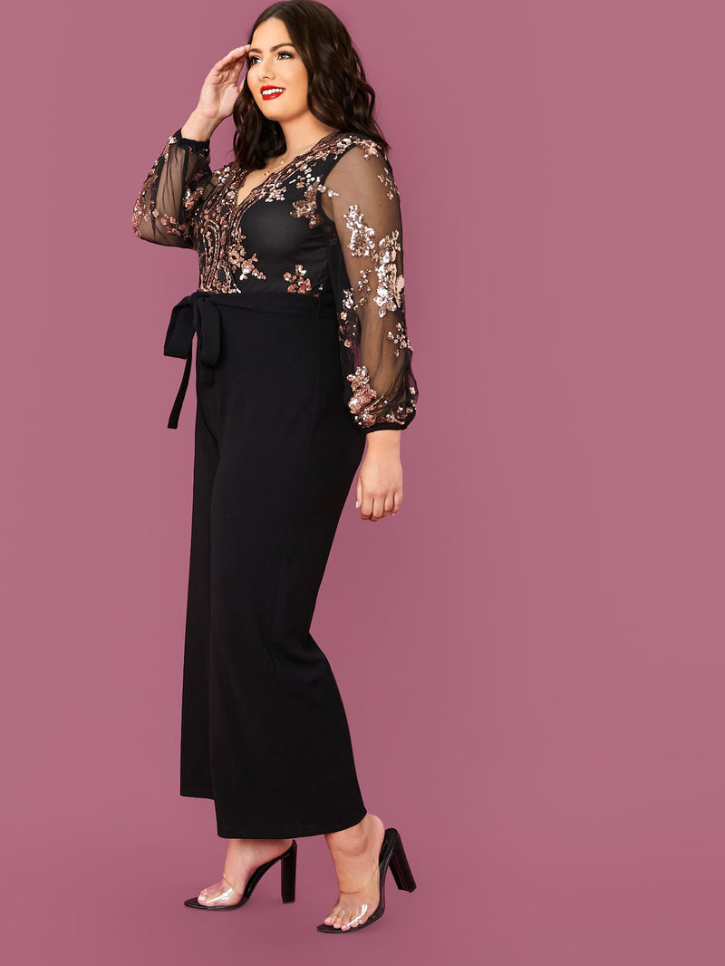 Plus Size Elegant Sequin Mesh Belted Jumpsuit