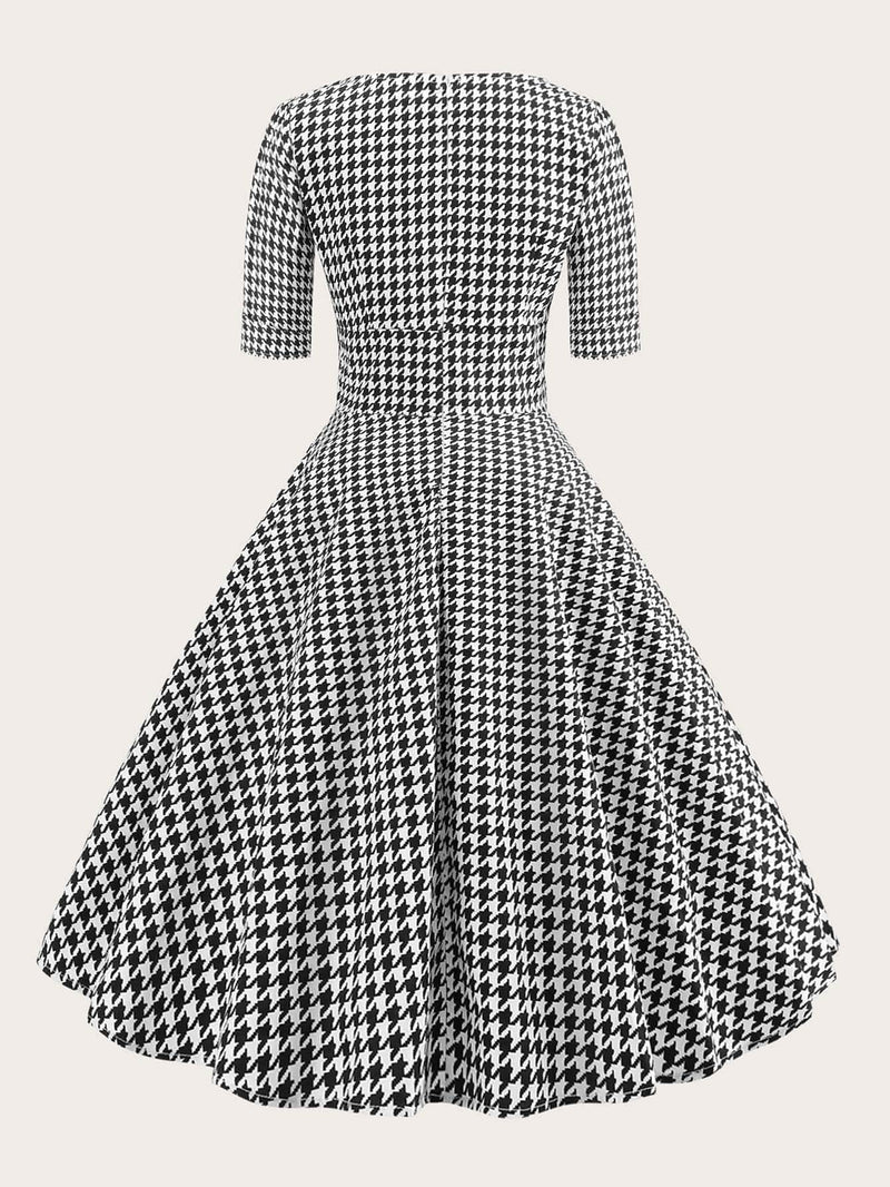 Plus Size Houndstooth Fit & Flare Dress