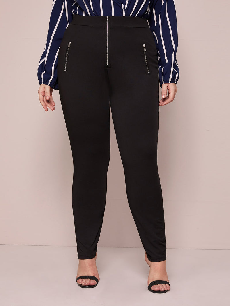 Plus Size Zipper Front Skinny Leggings