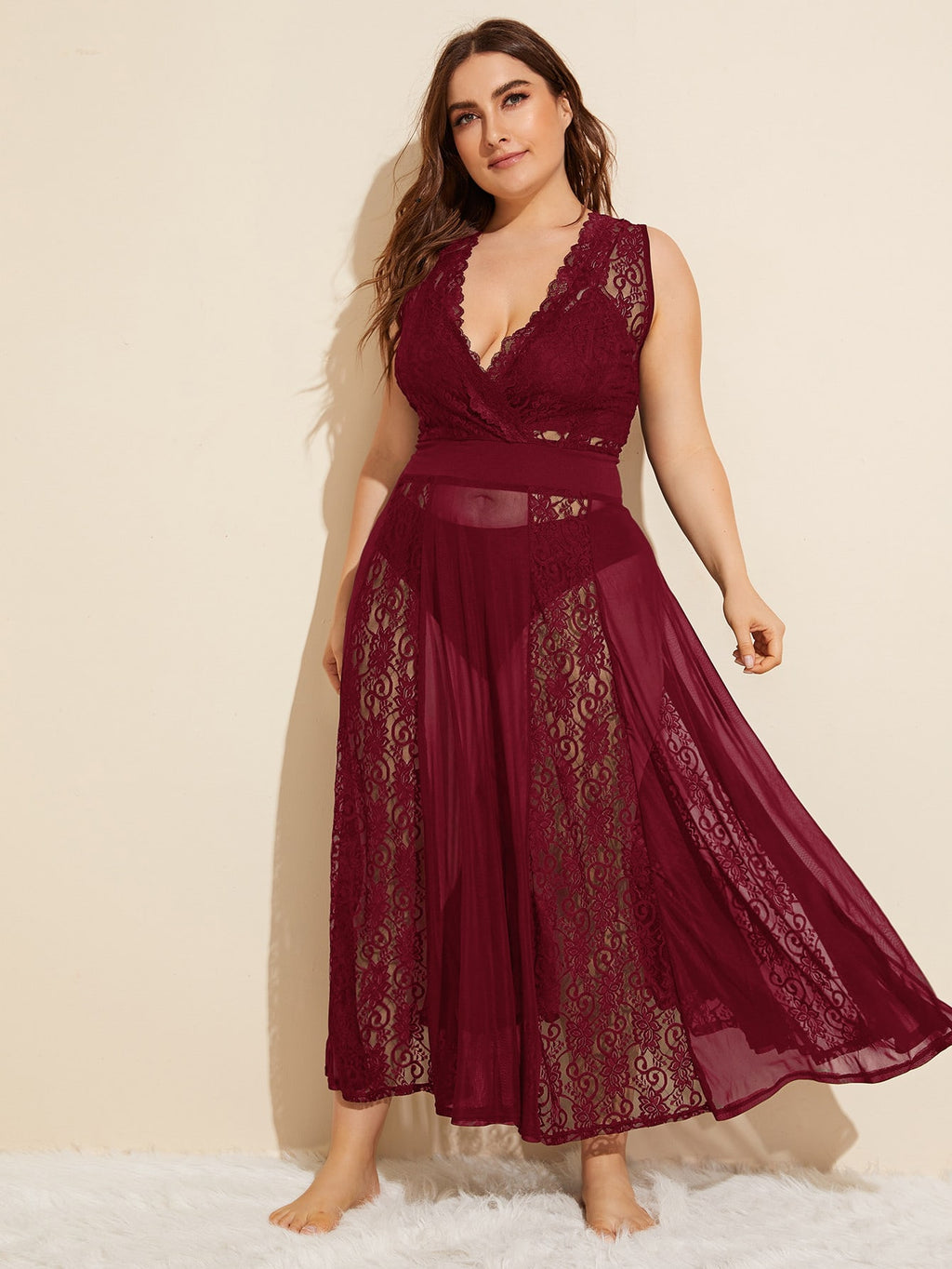 Plus Size Sexy Contrast Mesh Lace Dress