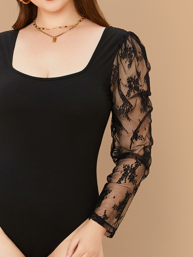 Plus Size Sexy Sheer Lace Sleeve Bodysuit Top