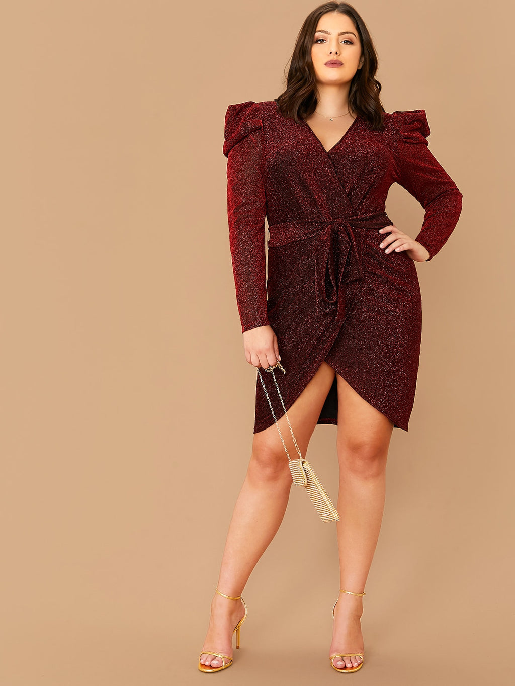 Plus Size Sparkling Bold Shoulder Belted Wrap Dress