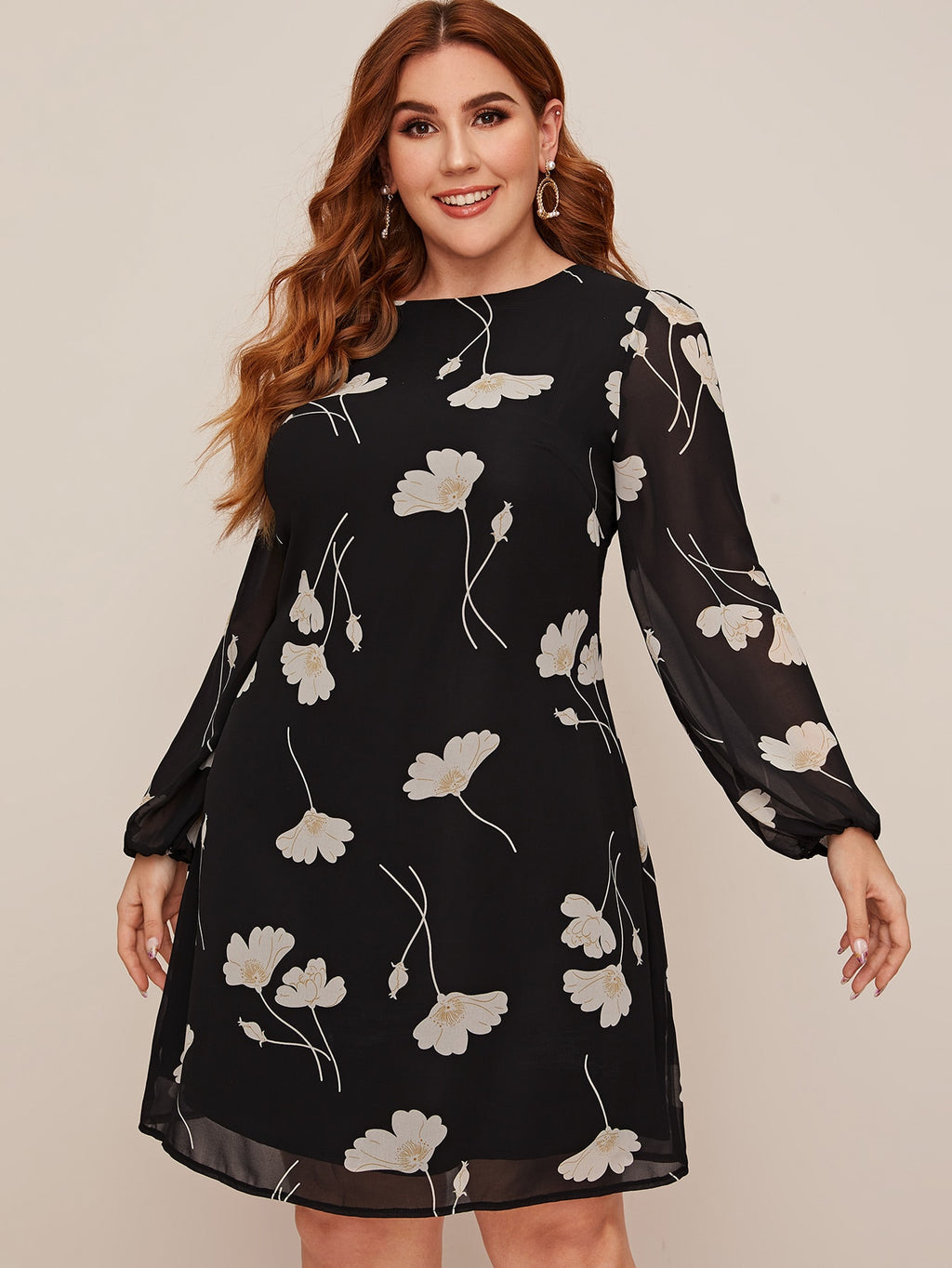 Plus Size Floral Print Contrast Mesh Sleeve Tunic Dress