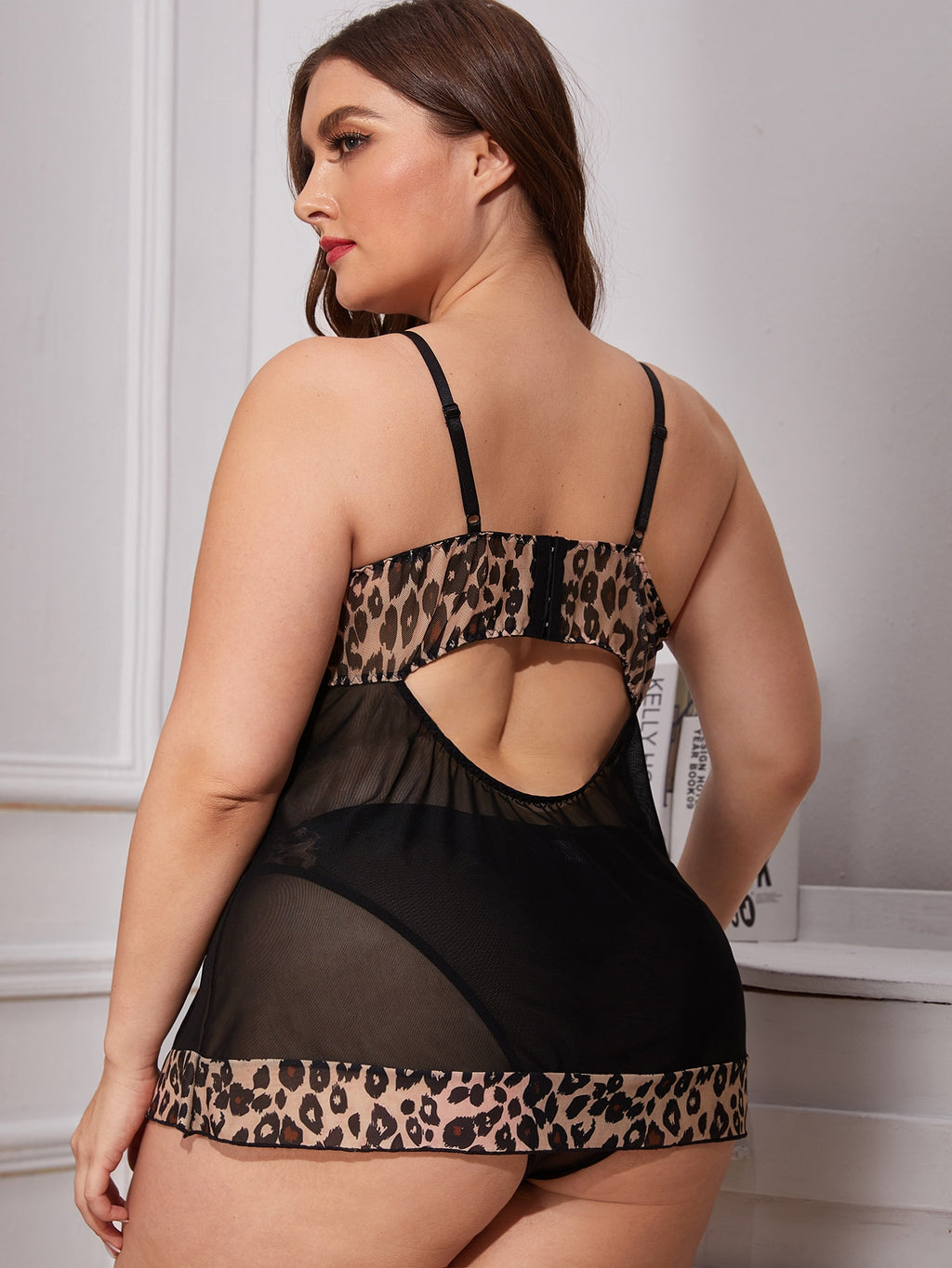 Plus Size Leopard Sheer Mesh Slips With Panty