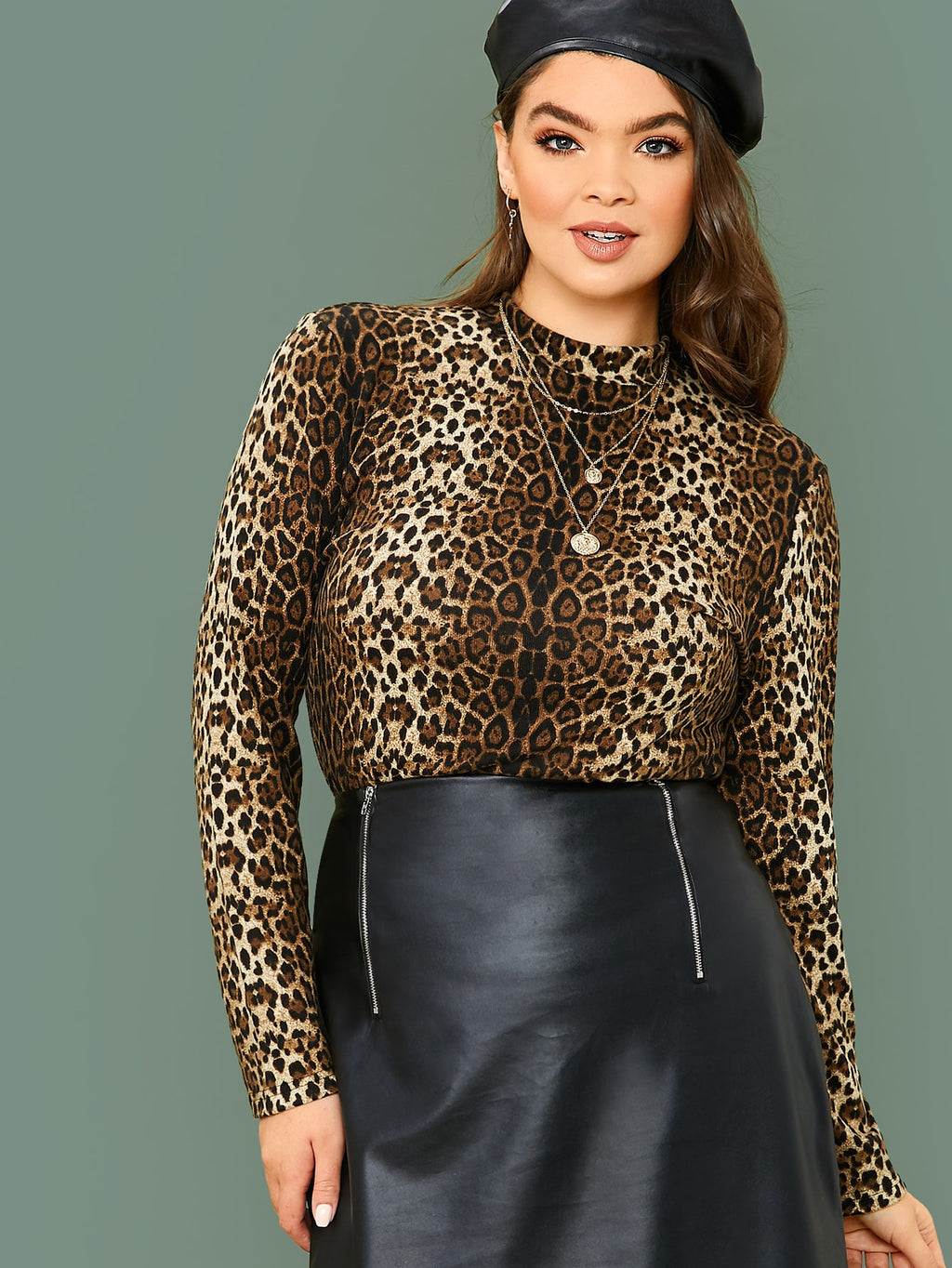Plus Size Leopard Print Long Sleeve Fitted Top