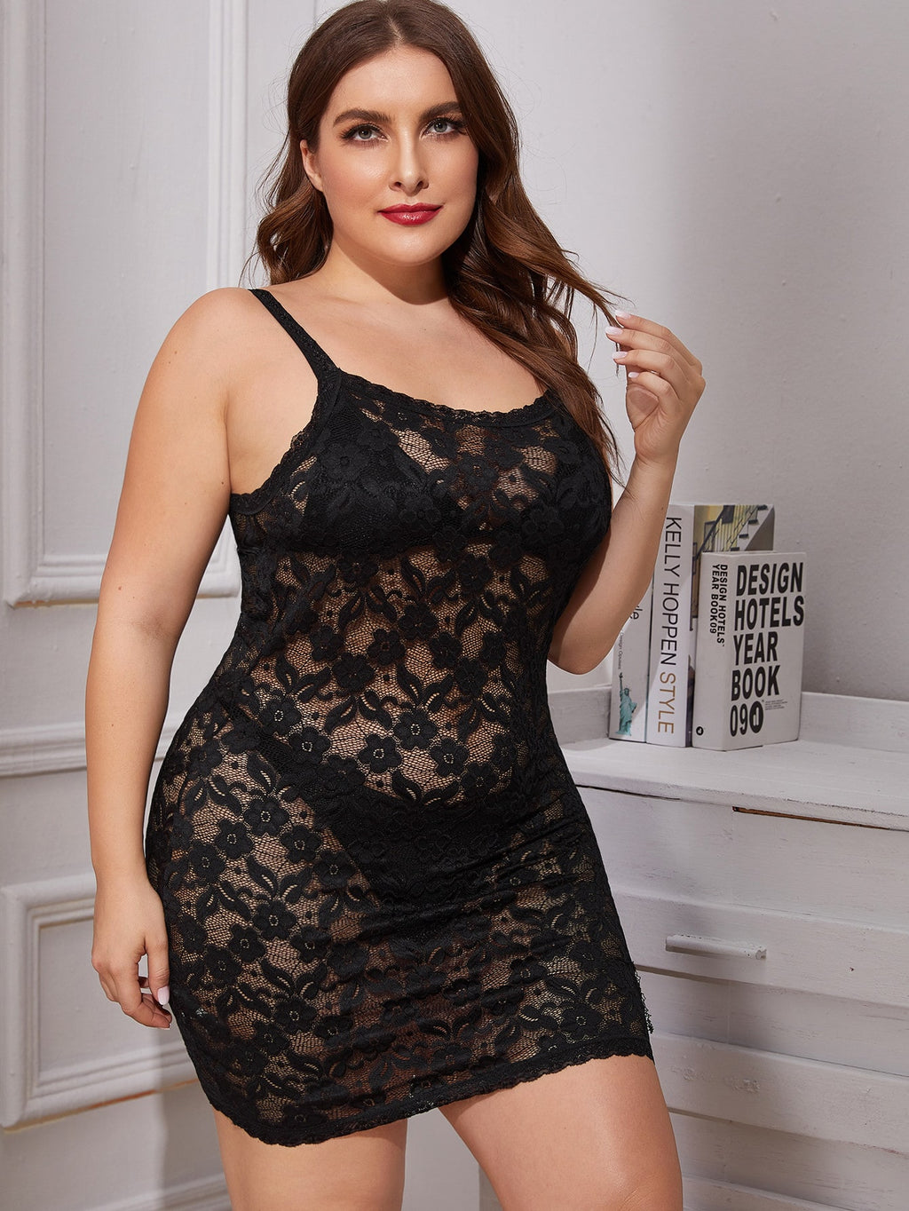 Plus Size Floral Lace Dress With Thong
