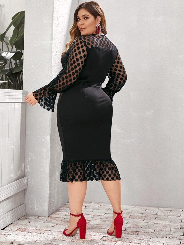 Plus Size Flounce Sleeve Dot Mesh Trim Bodycon Dress