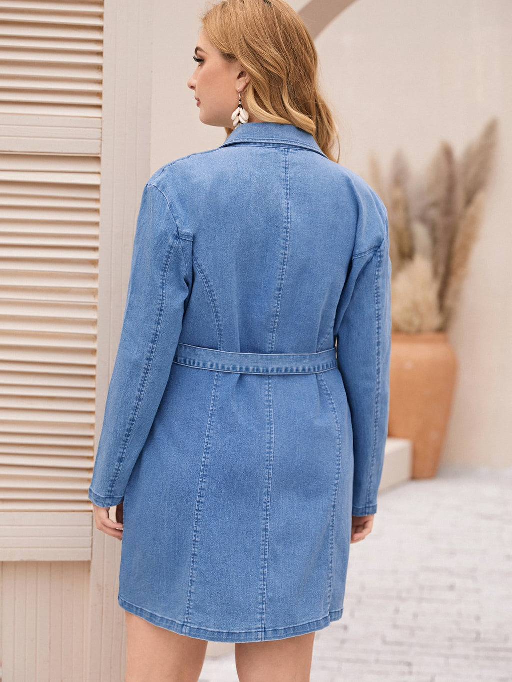Plus Size Denim Buckle Belted Blazer Dress