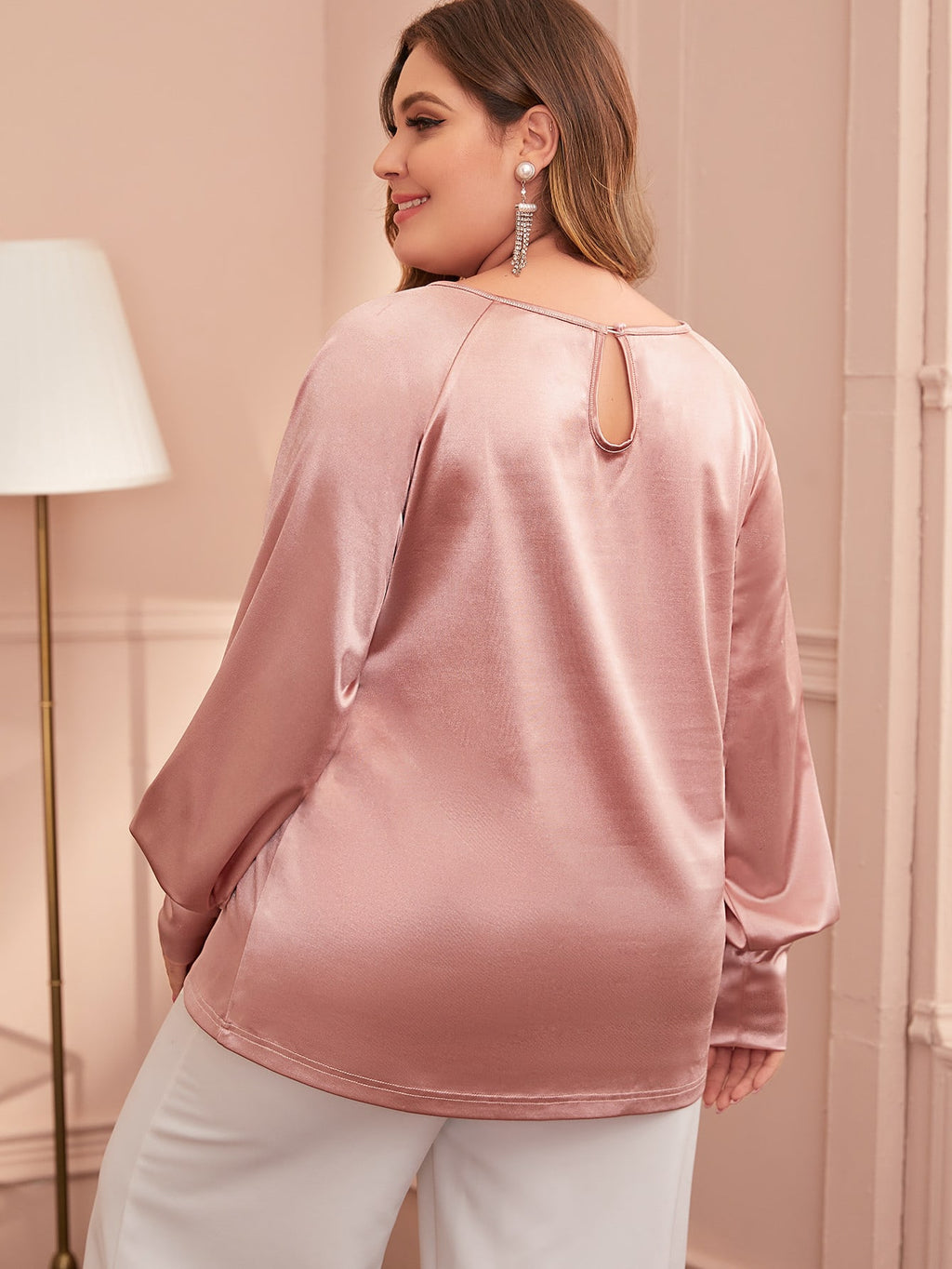 Plus Size Raglan Sleeve Satin Top