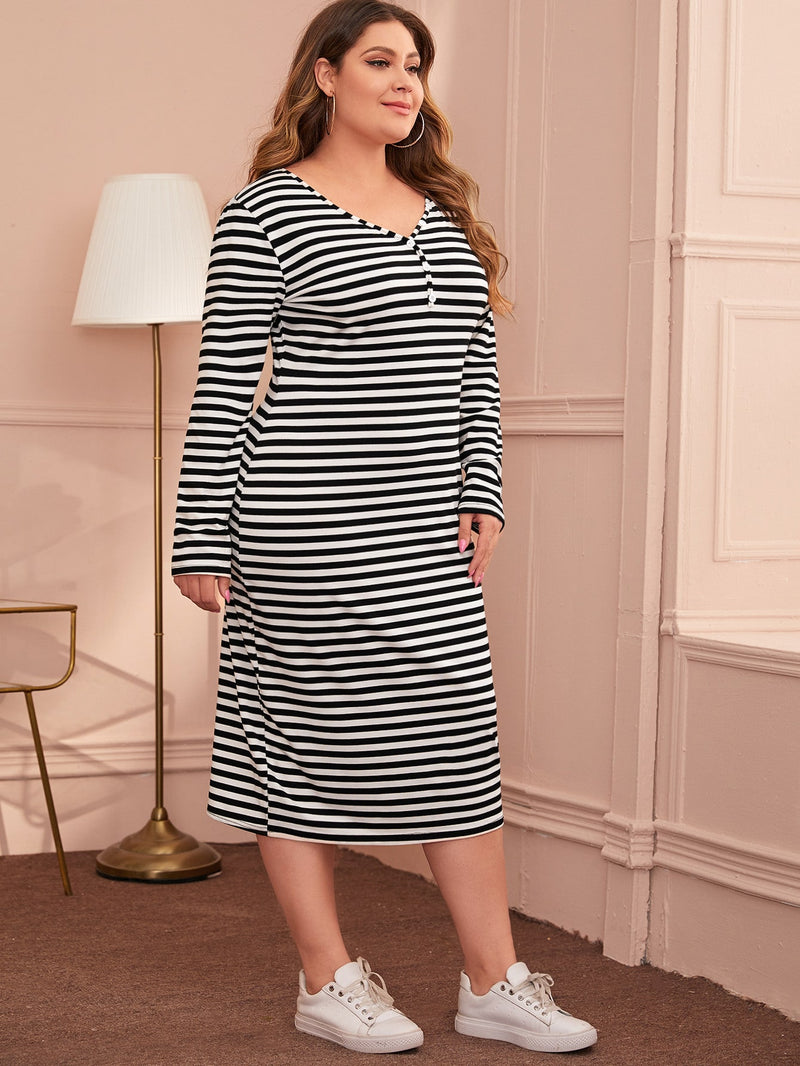 Plus Size Striped V-neck Fitted Dress