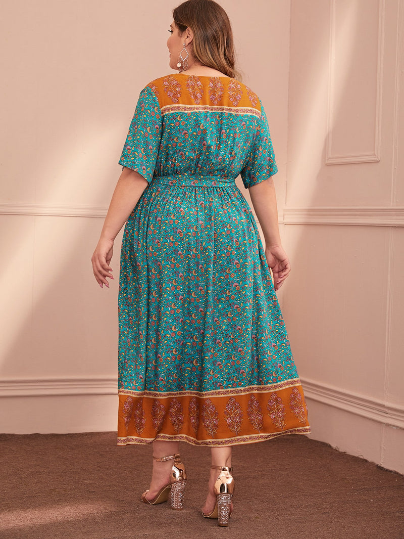 Plus Size Elegant Floral Panel Belted A-line Dress