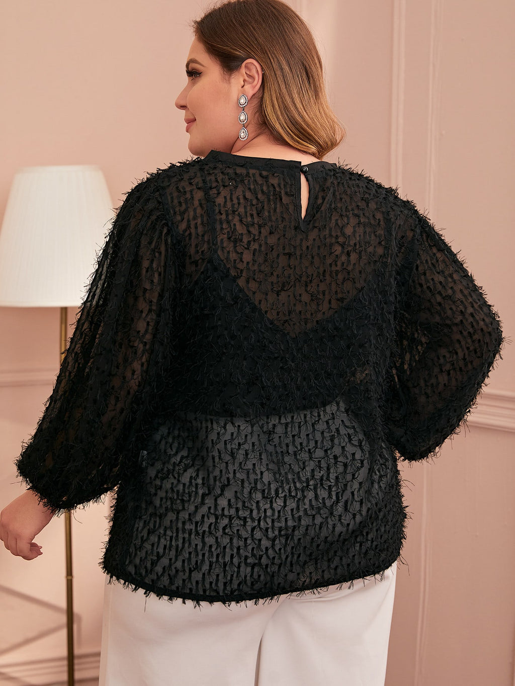 Plus Size Fringe Overlay Sheer Blouse Top