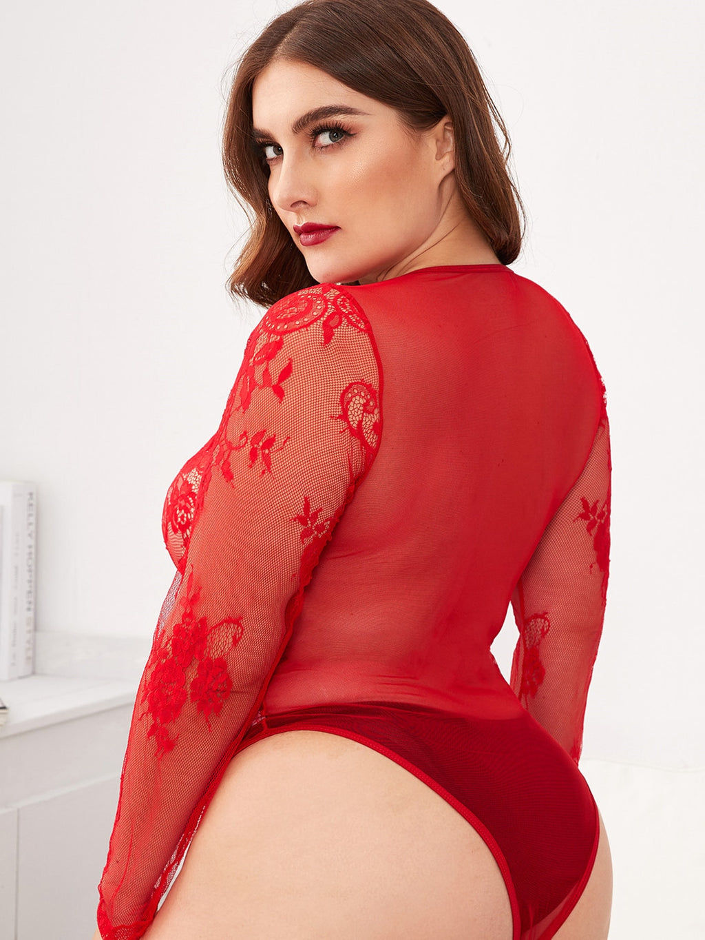 Plus Size Contrast Lace Sheer Mesh Teddy Bodysuit