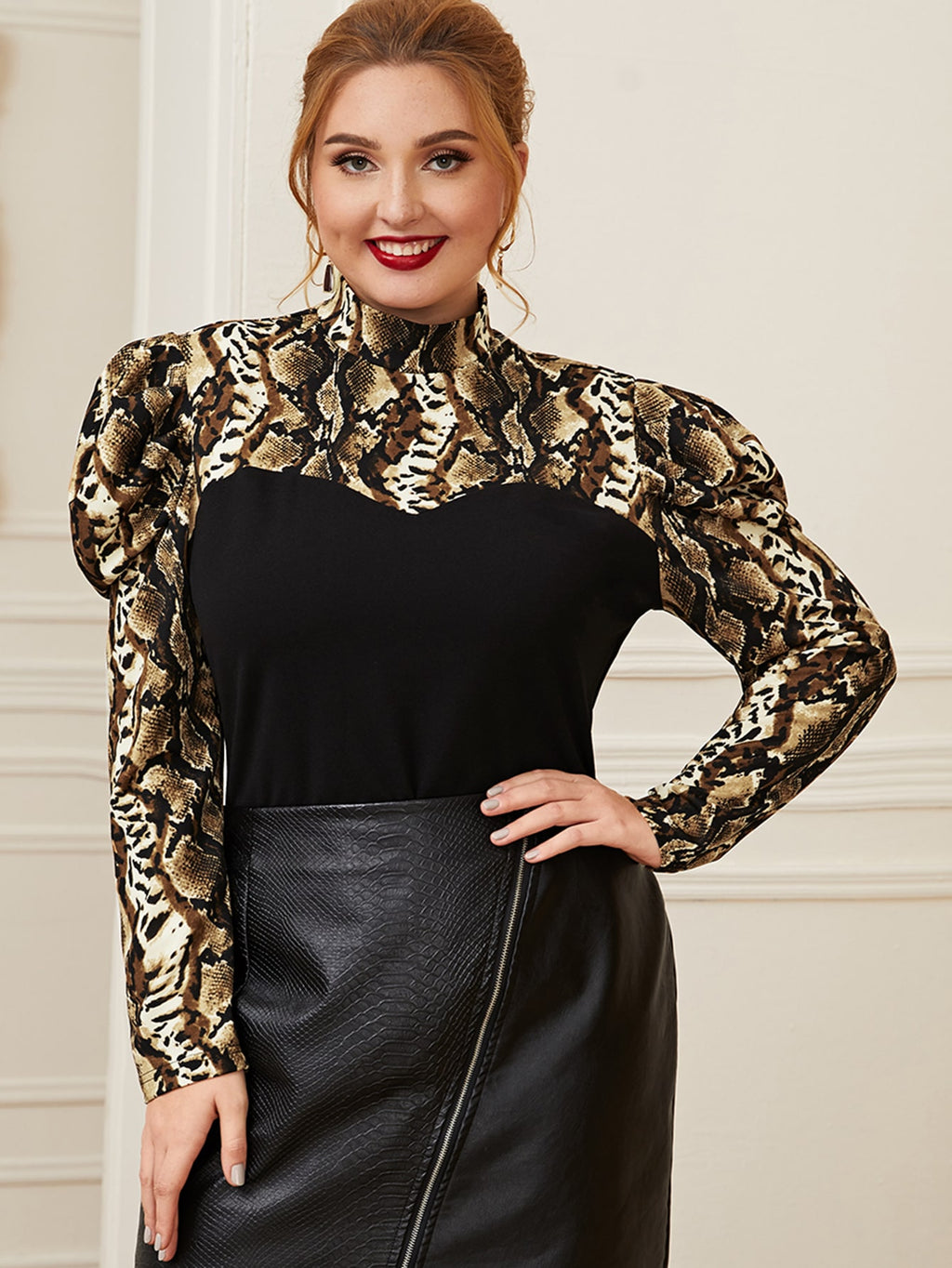 Plus Size Snakeskin Stand Collar Panel Top