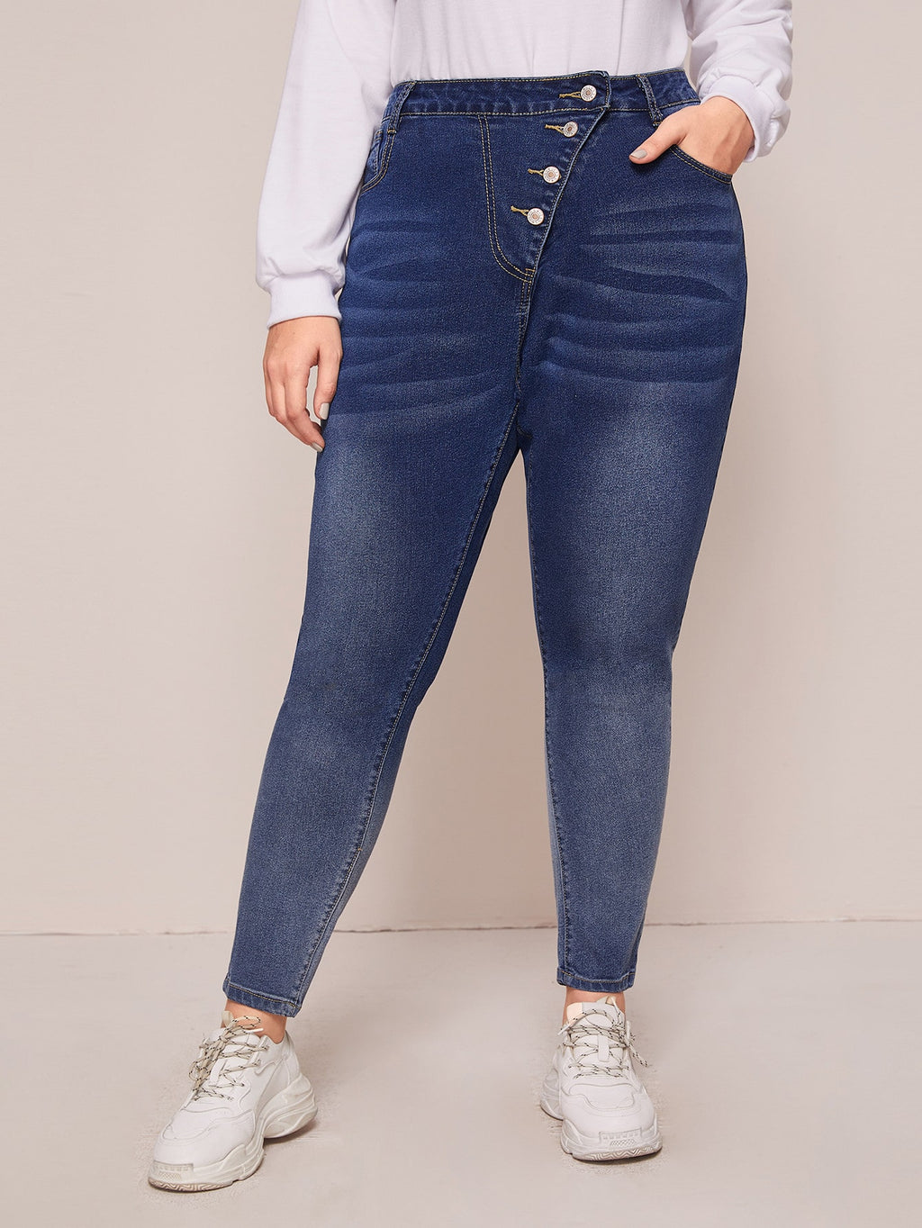 Plus Size Button Waist Skinny Jeans