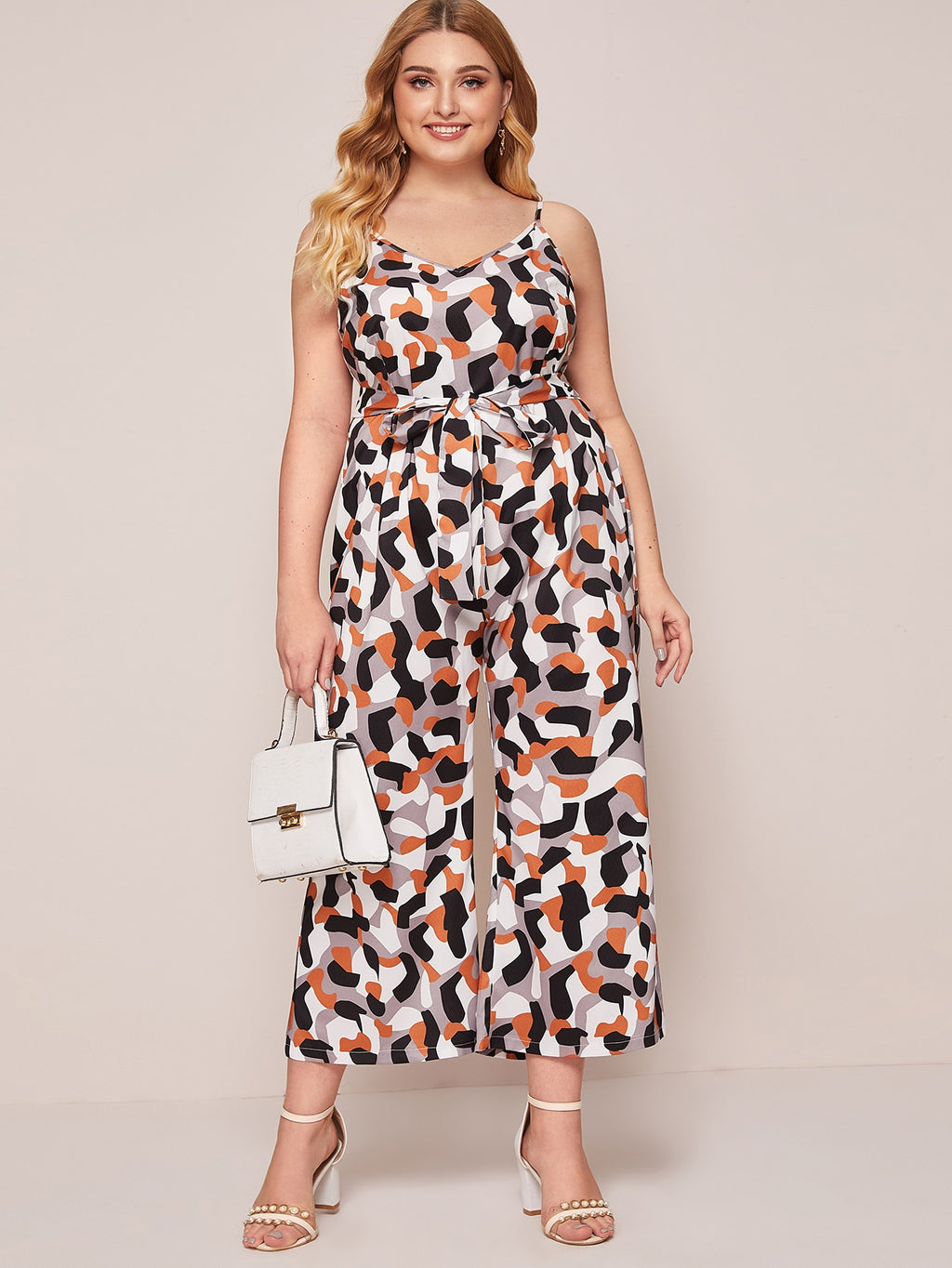 Plus Size Geo Print Belted Cami Jumpsuit