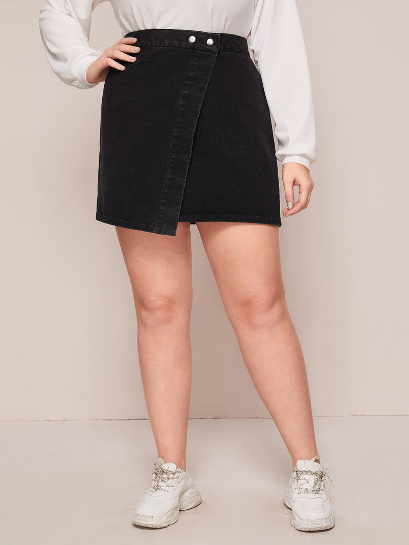 Plus Size Button Detail Wrap Denim Skirt
