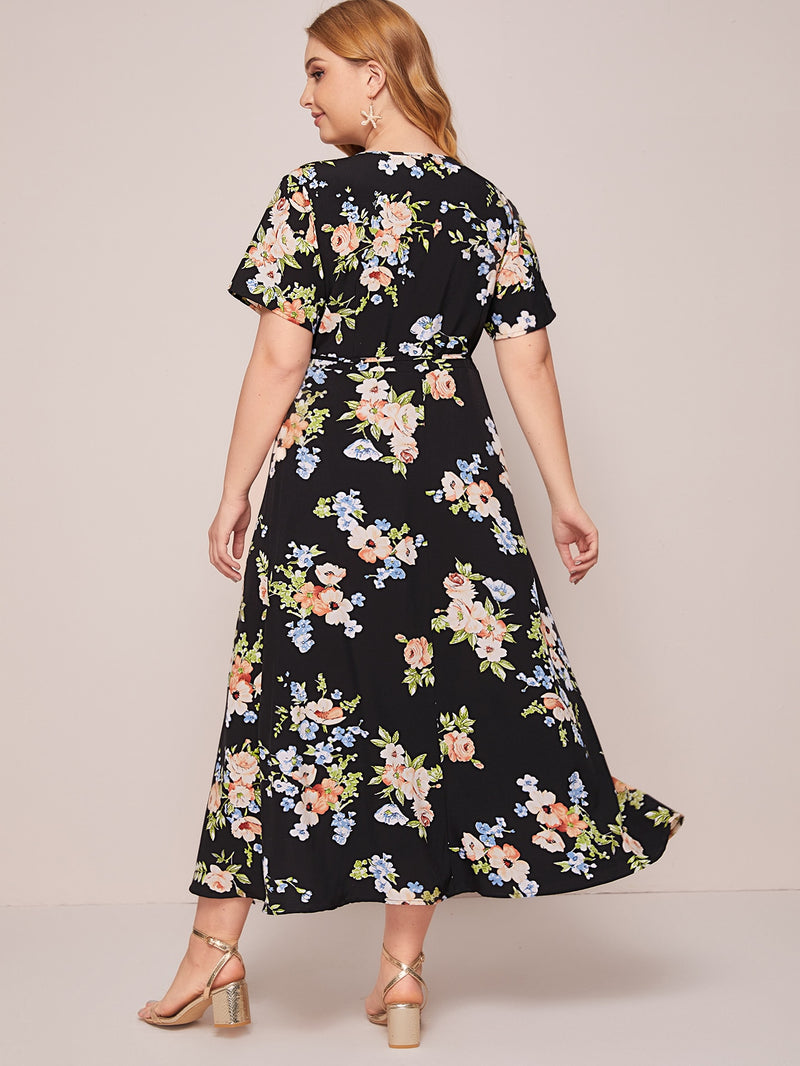 Plus Size Floral Print Split Thigh Belted A-line Dress