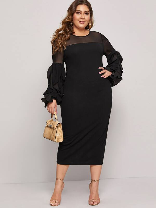 Plus Size Mesh Yoke Ruffle Sleeve Split Back Dress