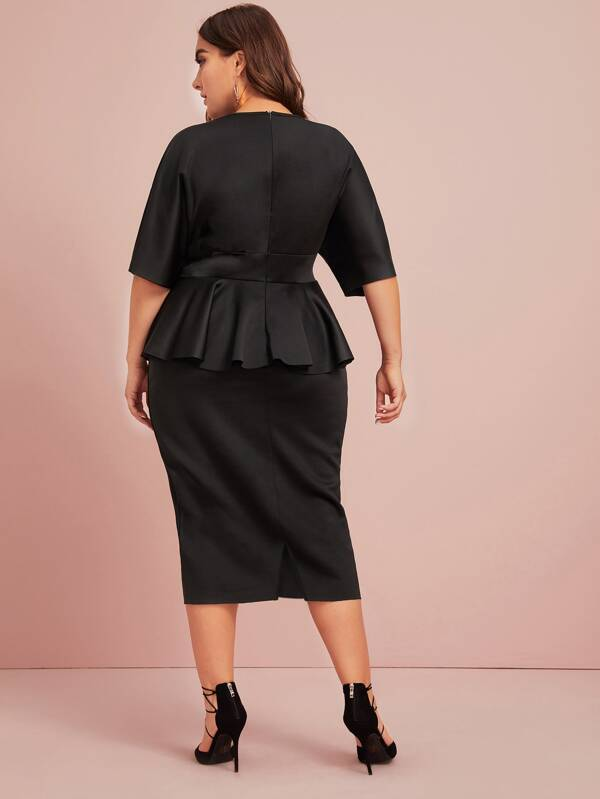 Plus Size Plunging Ruffle Trim Self Belted Pencil Dress