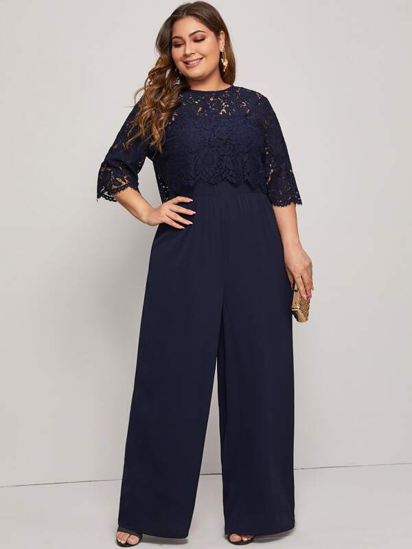 Plus Size Split Back Lace Bodice Wide Leg Jumpsuit