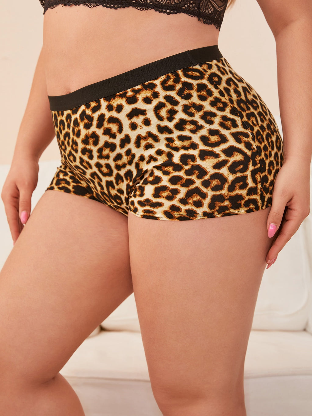 Plus Size Leopard Shortie