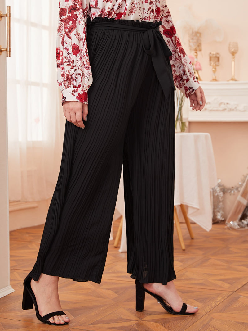 Plus Size Pleated Wide Leg Belted Pants