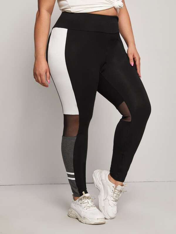 Plus Size Wide Waistband Mesh Insert Color Block Leggings