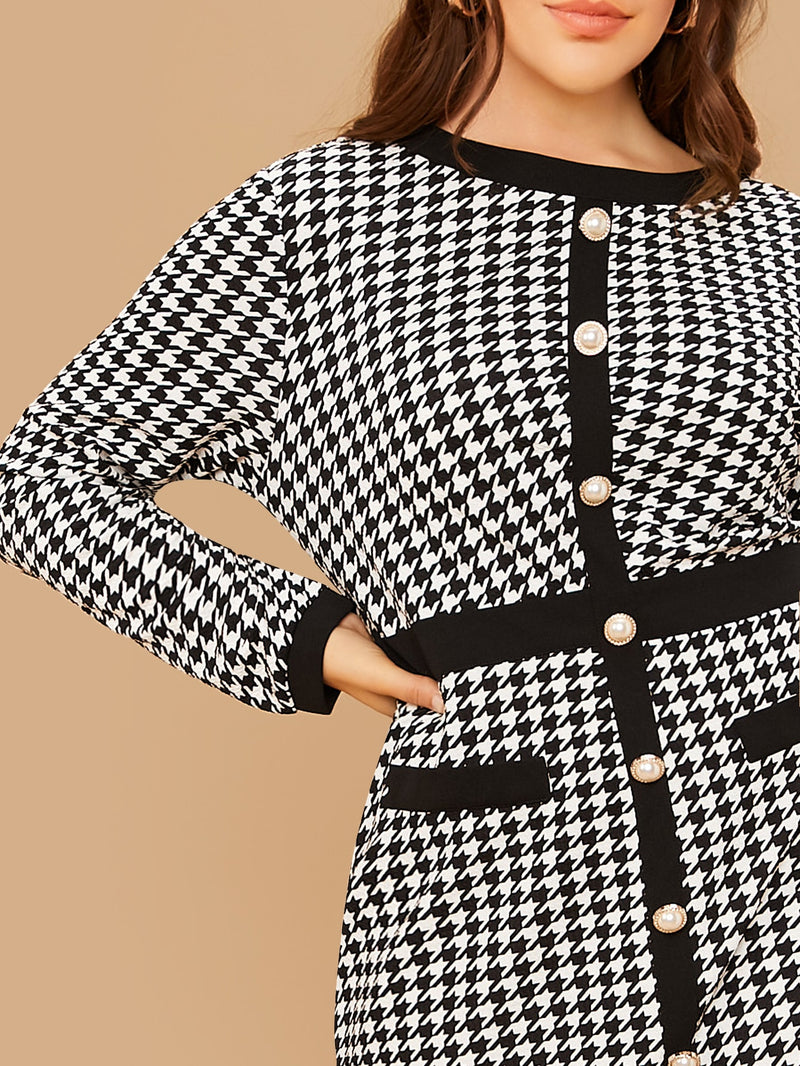 Plus Size Houndstooth Single Breasted Dress