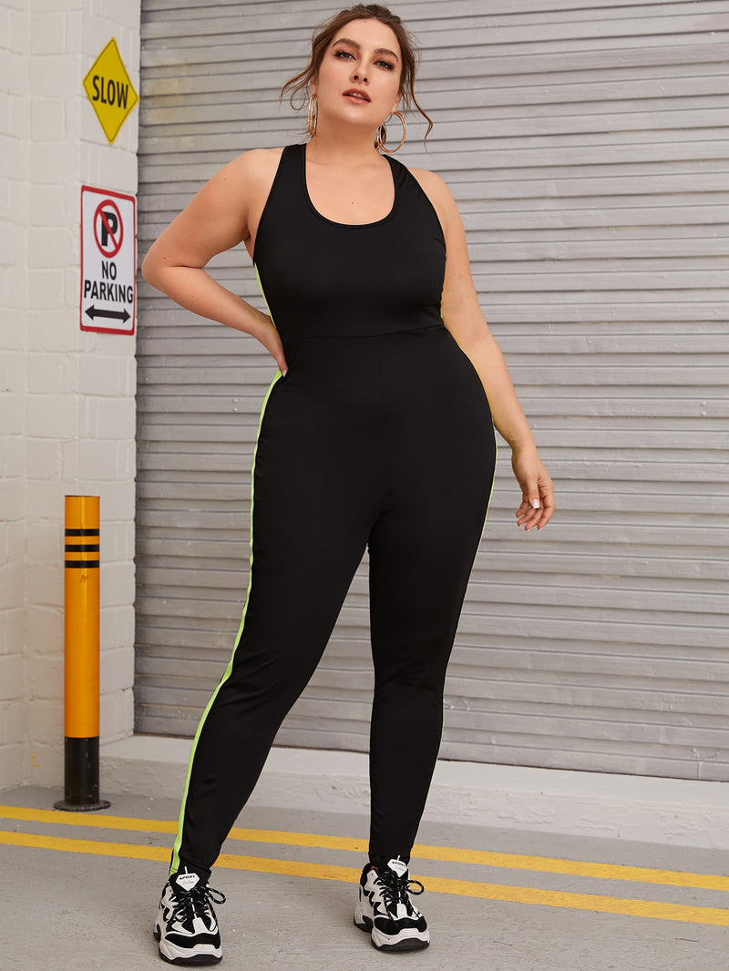 Plus Size Sporty Contrast Panel Criss Cross Back Jumpsuit
