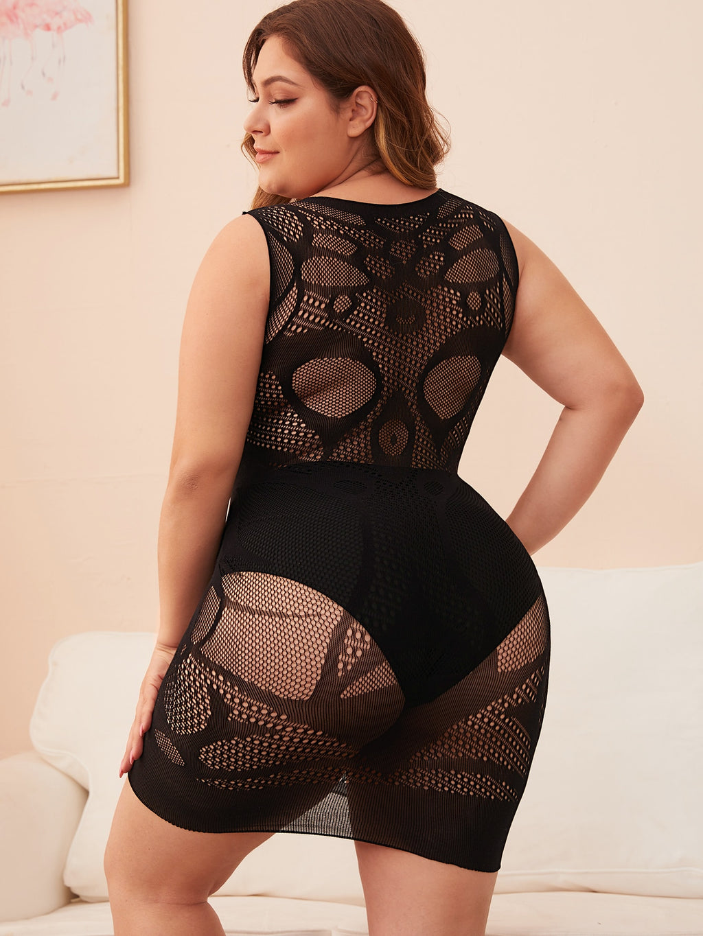 Plus Size Stretchy See Through Overlay Dress Without Lingerie Set
