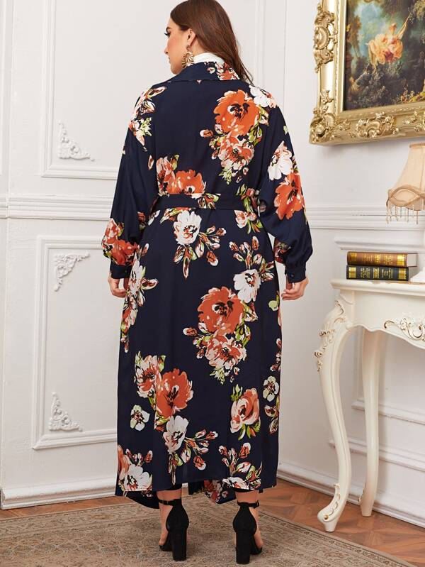 Plus Size Notched Collar Floral Print Belted Coat