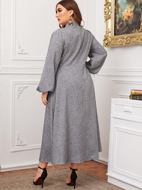 Plus Size Twist Neck Lantern Sleeve Linen Look Dress