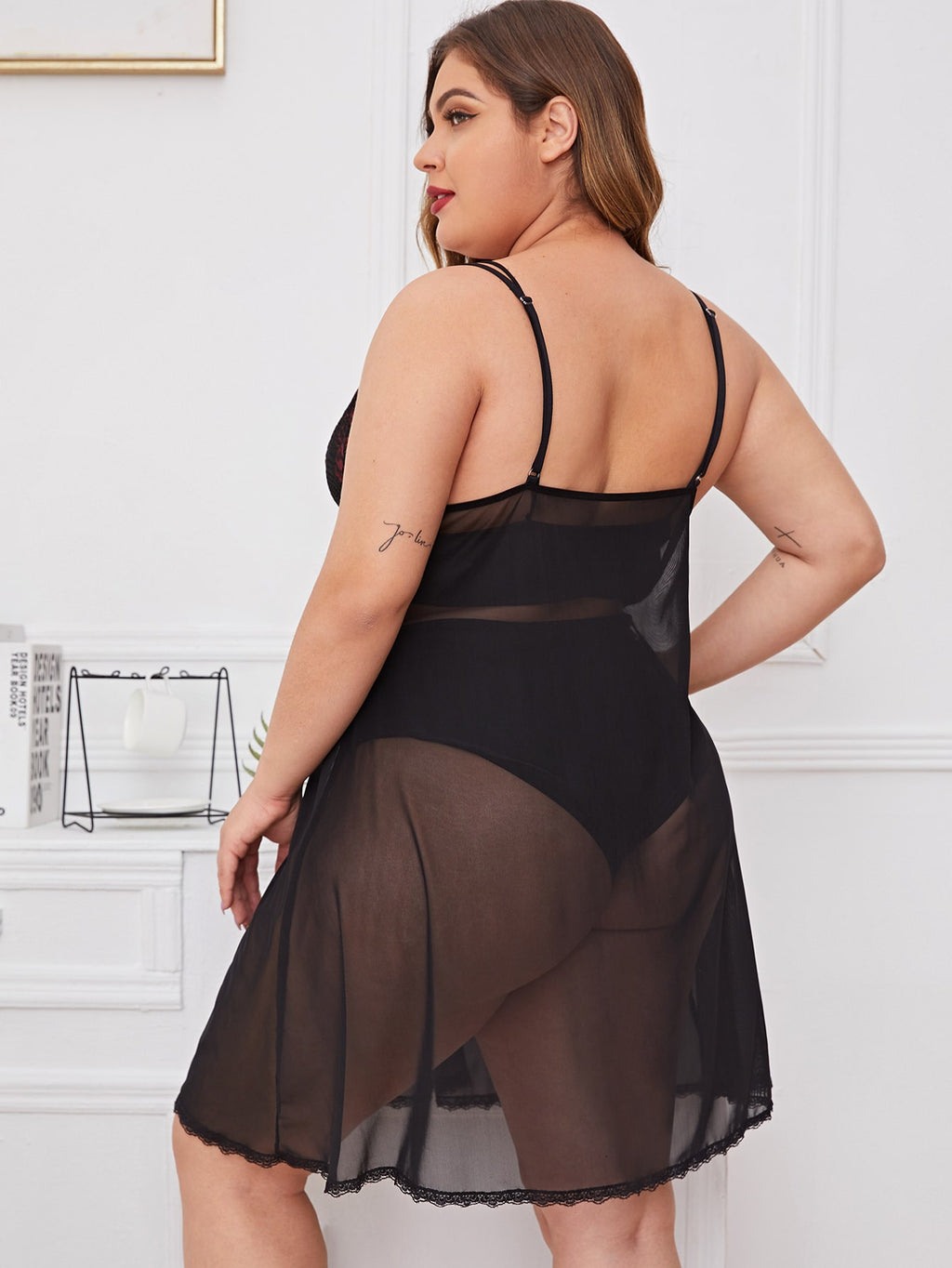 Plus Size Contrast Lace Sheer Mesh Slips & Thong