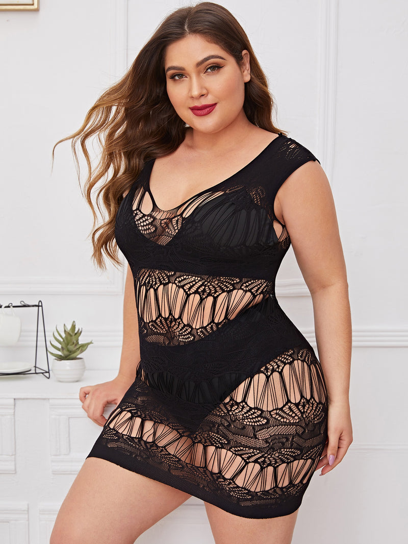 Plus Size Sheer Mesh Dress Without Lingerie Set