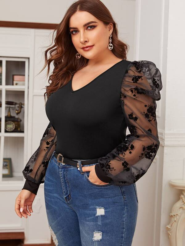 Plus Size Flocked Mesh Gigot Sleeve Form Fitted Top