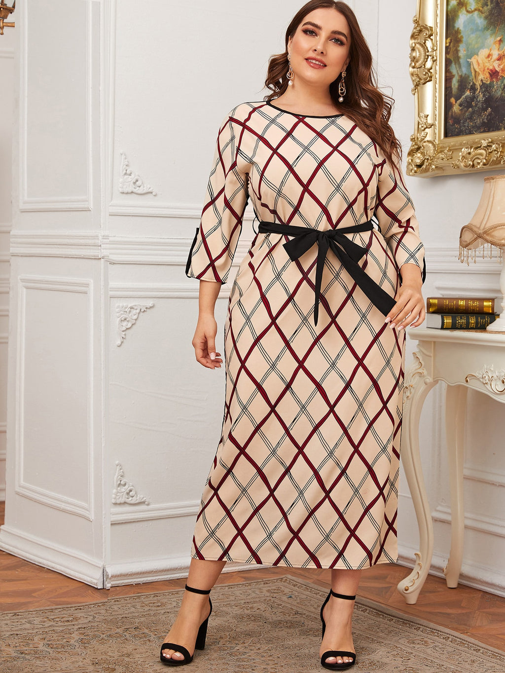 Plus Size Colorblock Geo Print Self Tie Dress