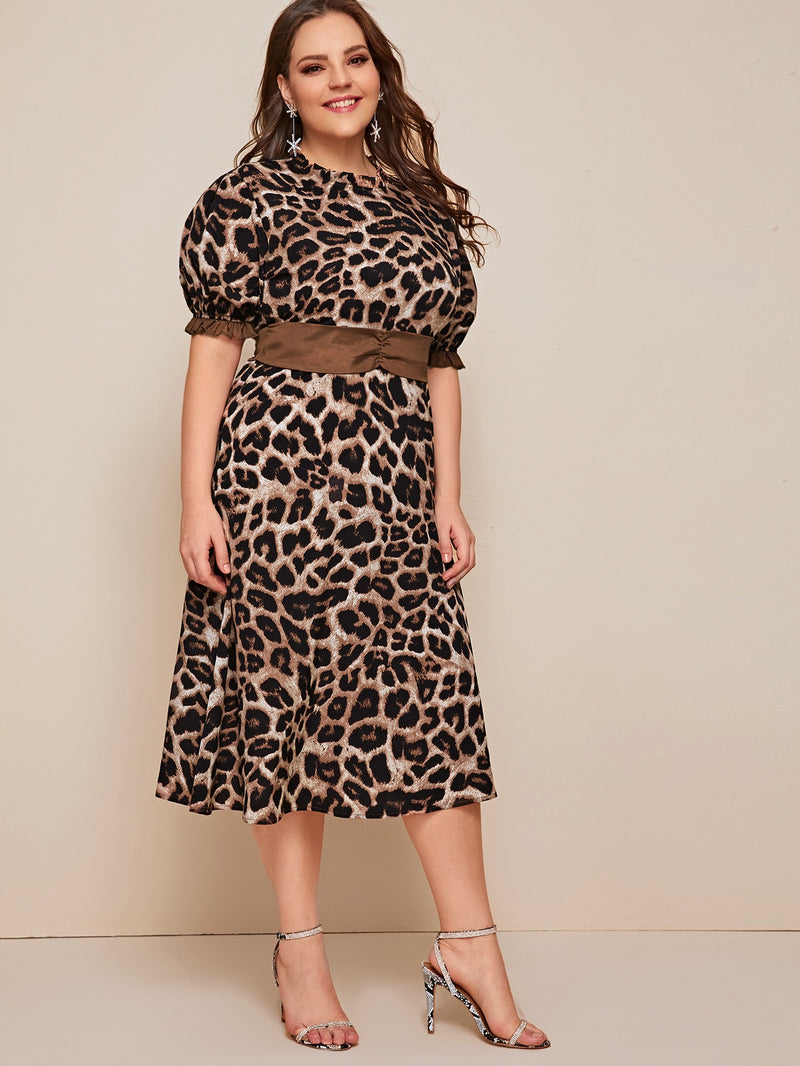 Plus Size Leopard Print Frill Trim Dress