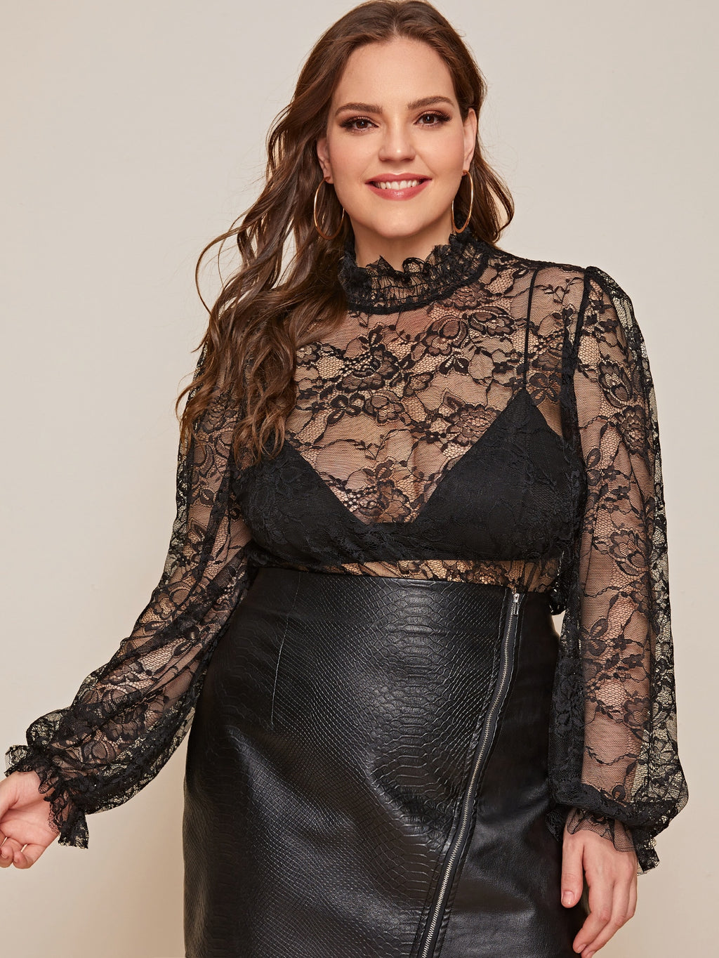 Plus Size Mock Neck Sheer Lace Top Without Bra