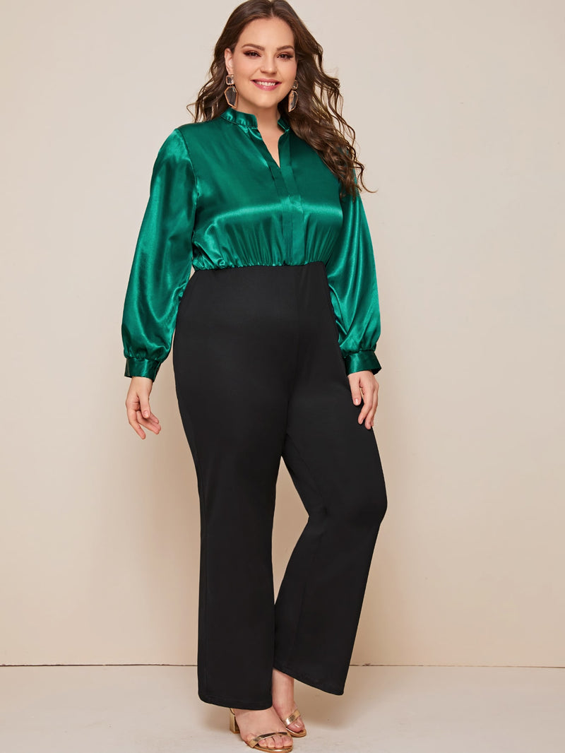 Plus Size Two Tone Notch Neck Combo Jumpsuit