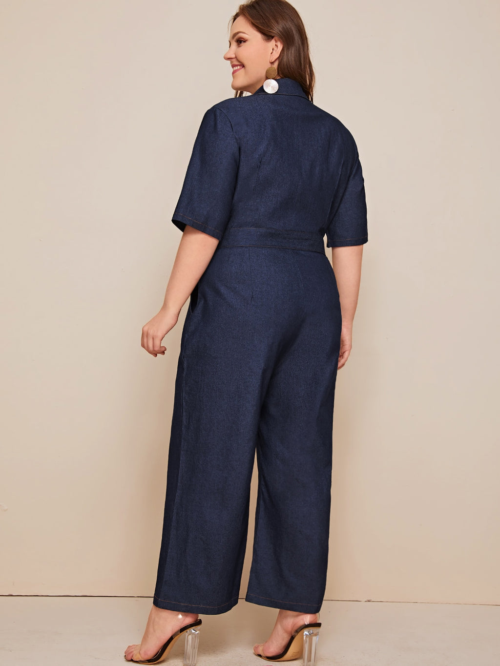 Plus Size Denim Button Front Belted Overalls